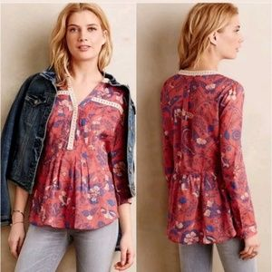 Maeve Anthropologie Abella top pink floral Size 12